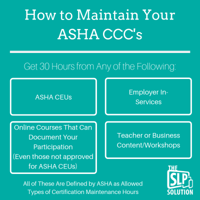 How to Maintain Your ASHA CCC's